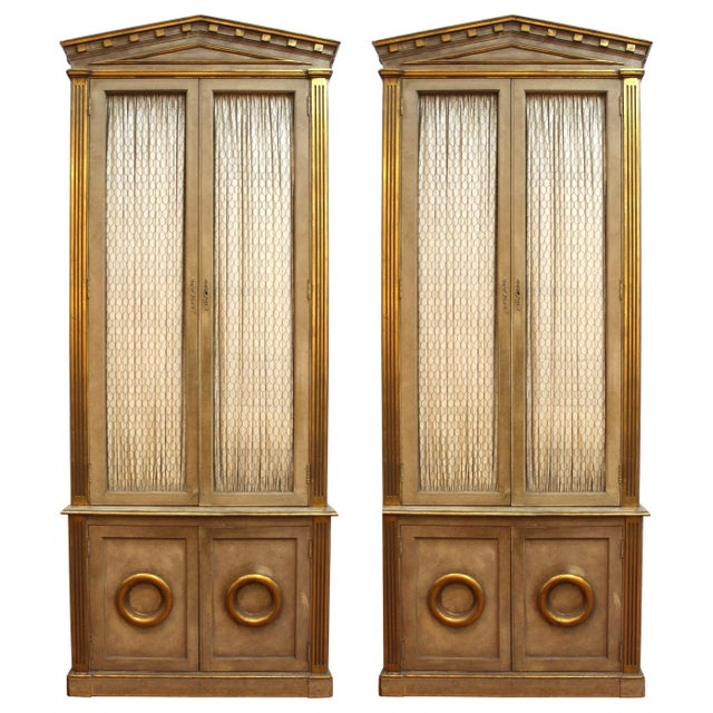 Monumental Neoclassical Revival Style Pedimented Wood Cabinets - a Pair For Sale - Image 13 of 13
