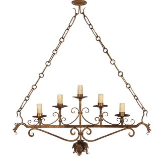 Vintage Italian Gilt Iron Six-Light Fixture For Sale