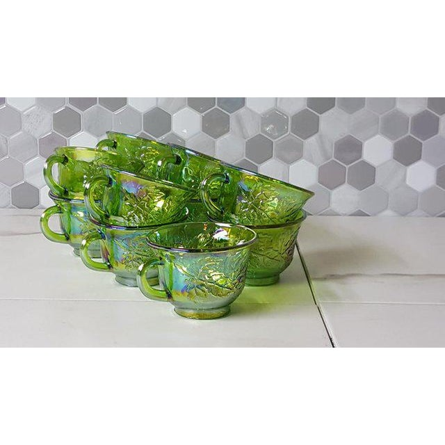 1970's Vintage Indiana Glass Company of Dunkirk Green Glasses- Set of 11 For Sale - Image 9 of 11