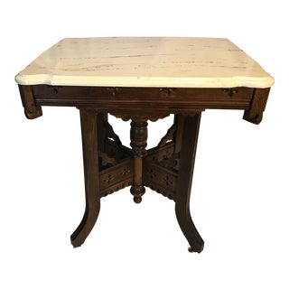 Victorian Period Oak Marble Top Side Table For Sale