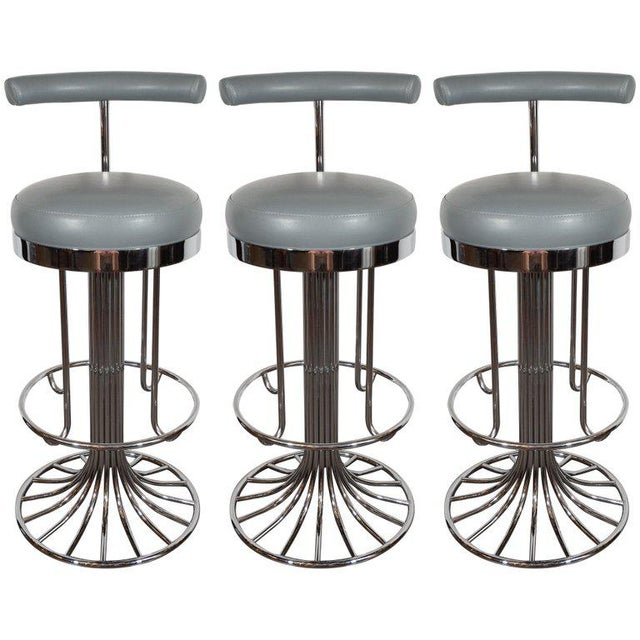Gray Set of Three Mid-Century Modern Chrome and Dove Gray Swivel Bar Stools For Sale - Image 8 of 8