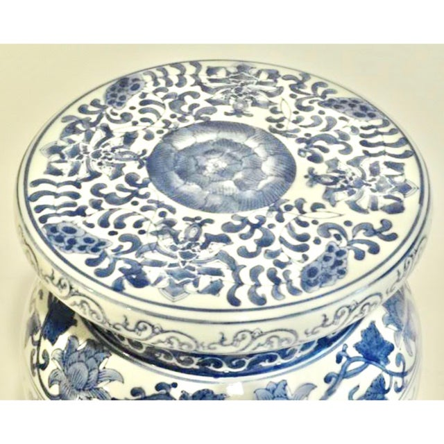 Blue and White Ceramic Garden Stool For Sale In Tulsa - Image 6 of 9