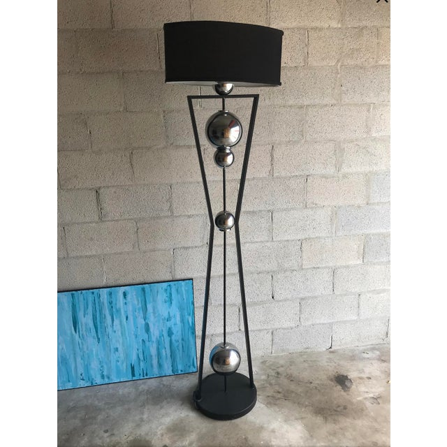 Art Deco Style Chrome and Black Floor Lamp For Sale - Image 4 of 5