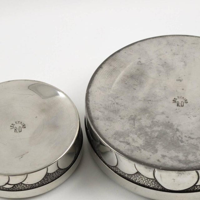 French Rene Delavan Art Deco Dinanderie Polished Pewter Box, 2 Pieces For Sale - Image 10 of 11