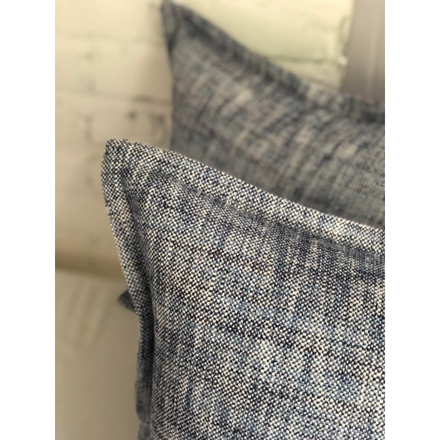 """Pair of 20"""" Cotton Tweed Pillows in Indigo Blue by Jim Thompson For Sale In Atlanta - Image 6 of 10"""