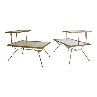 Pair of Glass and Metal Step Tables in Style of George Nelson For Sale