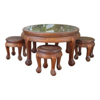 1940s Chinese Low Tea Table With Tucked in Low Stools - 5 Pieces For Sale