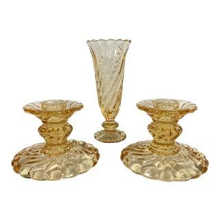 Fostoria Maypole Candlesticks & Vase - Set of 3 For Sale