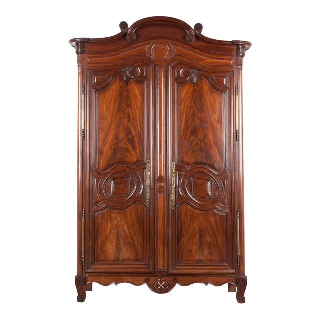 18th Century French Mahogany Armoire from the Port of Normandy For Sale