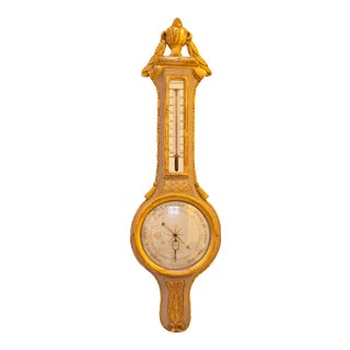Louis XVI Green & Gilt Wood Barometer For Sale