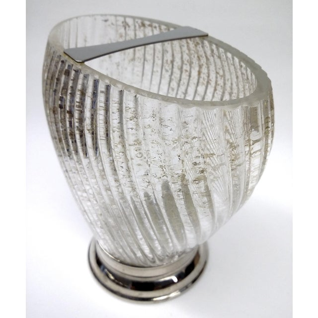 Art Deco Deco Swirl Crystal Gold Fleck Vase With Silver For Sale - Image 3 of 7
