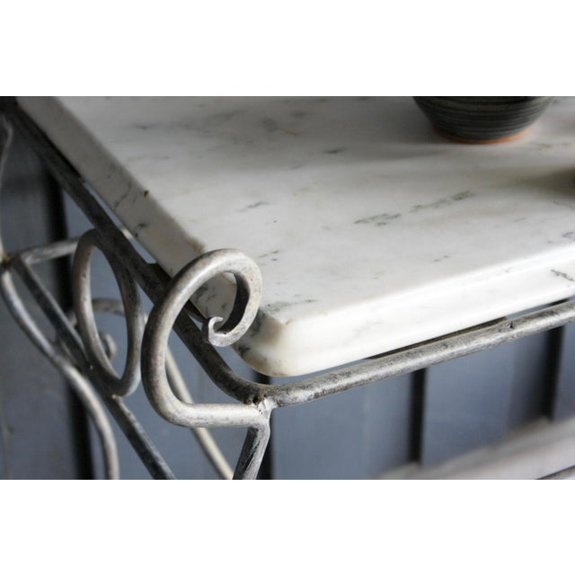 Metal French Scrolled Iron Butcher / Pastry Table With White Marble Top For Sale - Image 7 of 13