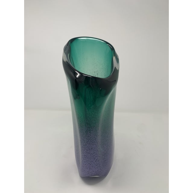 Late 20th Century Late 20th Century Asymmetric Speckled Murano Glass Vase For Sale - Image 5 of 12
