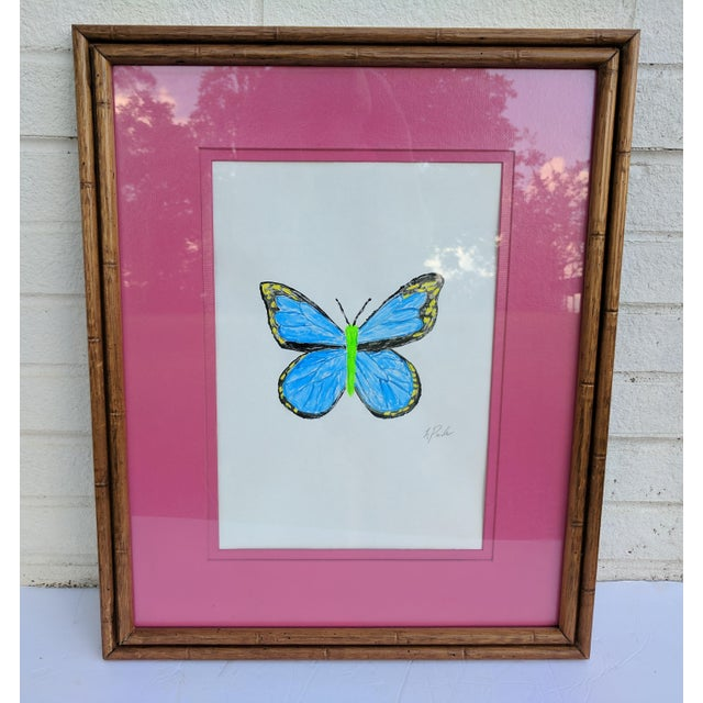 Original Acrylic Butterfly Painting Signed and Framed For Sale - Image 10 of 13