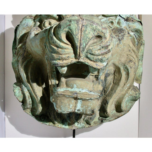 Early 20th Century Vintage Copper Repouss'e Lion Statue For Sale - Image 4 of 10