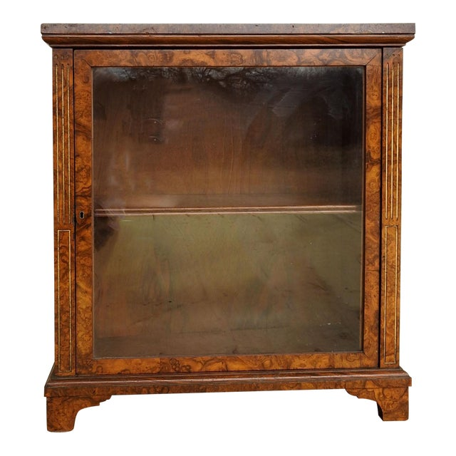 Neoclassical Burl Walnut Table Top Display Cabinet For Sale