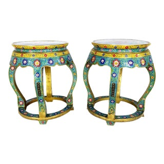 Chinese Cloisonne Bronze Stools - a Pair For Sale