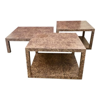 1970s Mid-Century Modern Parsons Coffee and End Tables - 3 Piece Set For Sale