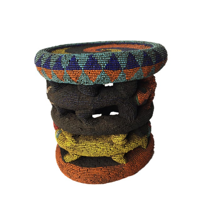 """Beaded Wood Bamileke Leopard Stool /Table Cameroon 8.5'""""h For Sale - Image 10 of 13"""