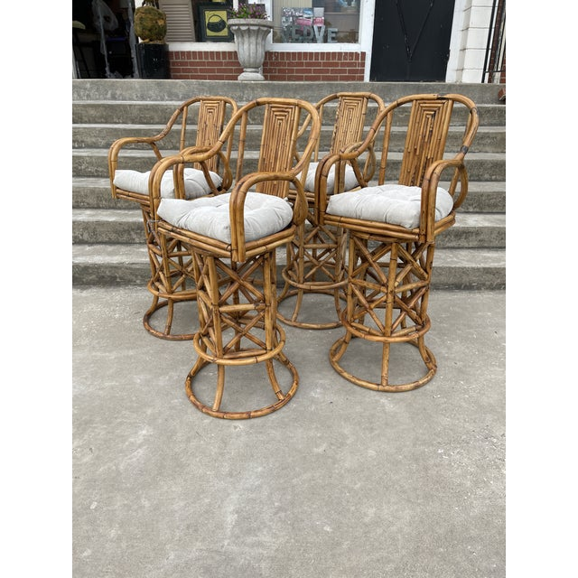 Fantastic set of 4 bar height bar stools. Superb condition. No maker name, but the quality is outstanding. Thick burnt...