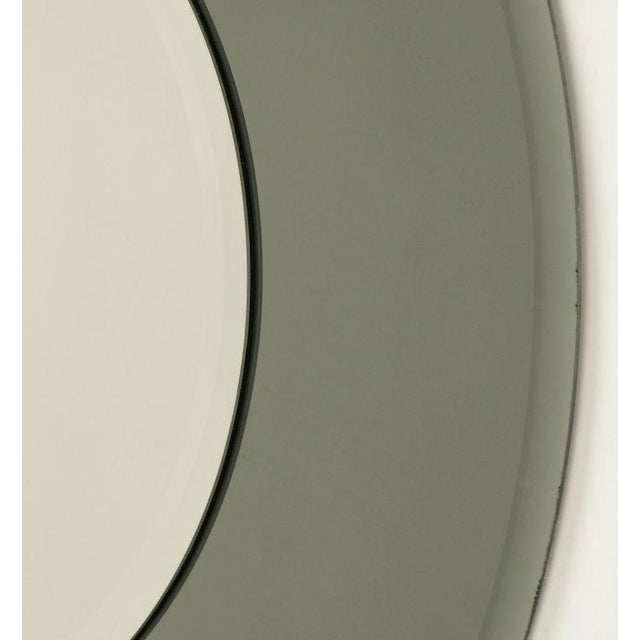 """Art Deco 36"""" Diameter Smoked & Beveled Glass Mirror For Sale - Image 3 of 3"""