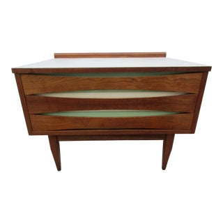 Mid-Century Modern Side Table With Bow-Tie Drawer Pull
