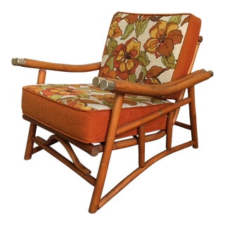 Vintage Ficks Reed Bamboo Lounge Chair For Sale