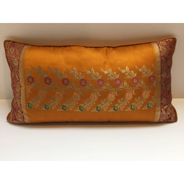Custom-made pair of silk pillow made from vintage wedding silk saris in orange, fushia, gold and green colors.