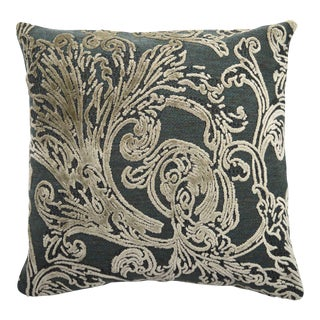 FirmaMenta Italian Damask Velvet Forest Green and Gray Leaf Pillow For Sale