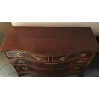 Vintage Hickory Furniture Bow Front Dresser With Inlaid Contrasting Wood Detail and Brass Pulls Preview