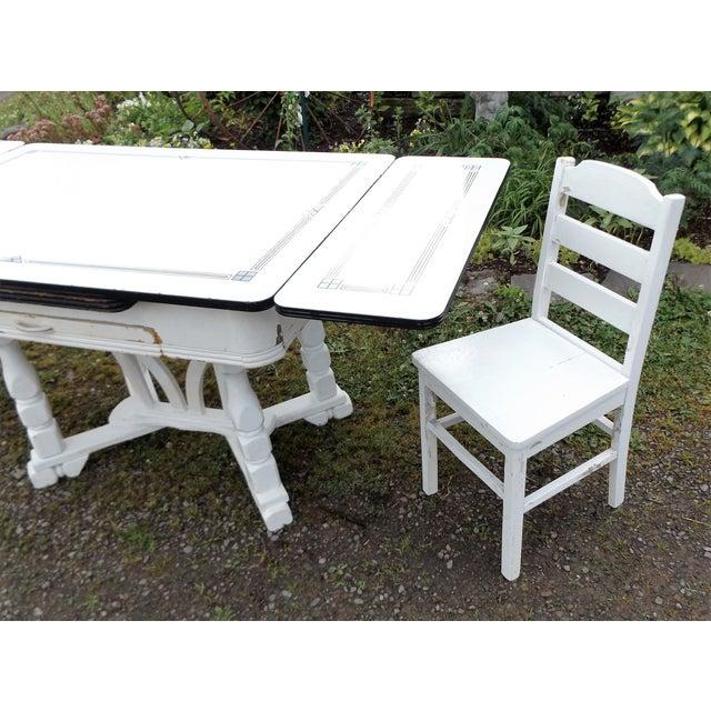 White Porcelain Expandable Farmhouse Table Set - Image 3 of 11