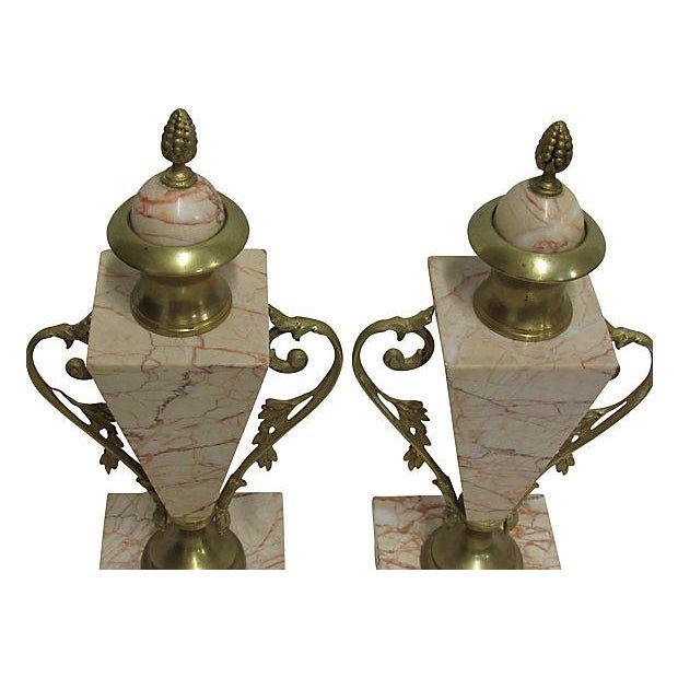 Antique French Bronze Marble Cassolettes - A Pair - Image 4 of 6