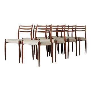 Set of Eight Model 78 Rosewood Chairs by Niels O. Møller, Denmark, 1960s For Sale