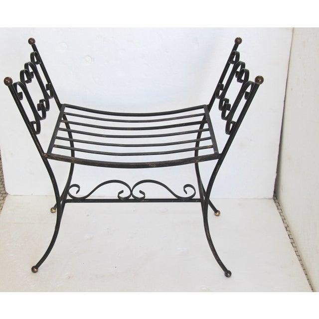 1960s Arthur Umanoff Style Iron Bench - Image 4 of 6