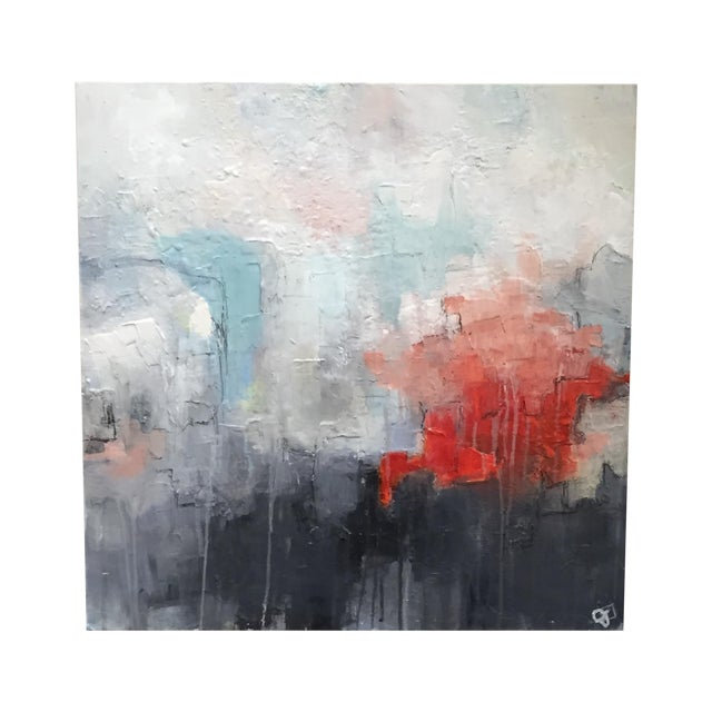 Jordan Johnson Aqua & Coral Abstract I Painting - Image 1 of 5
