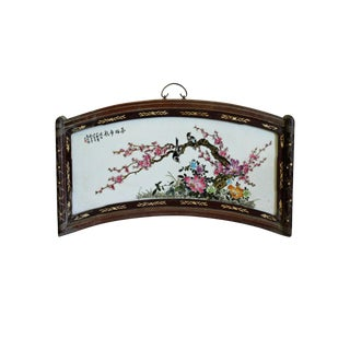 Chinese Fan Shape Rosewood Porcelain Flower Birds Scenery Wall Plaque For Sale