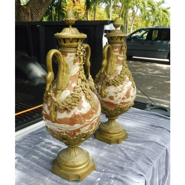 French 1950s French Rouge Marble Urns With Bronze Swan Heads and Mounts - a Pair For Sale - Image 3 of 13
