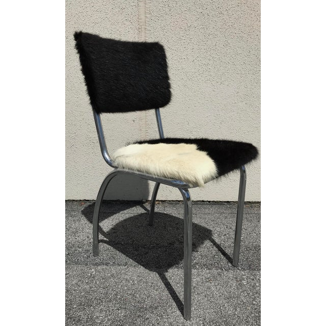 White Cowhide Upholstered Chrome Chairs - Set of 4 For Sale - Image 8 of 11