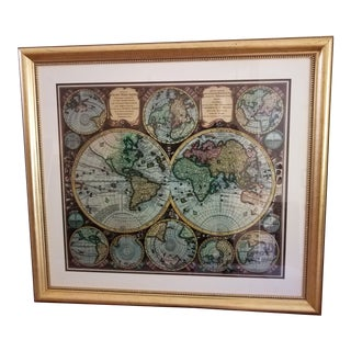 1970s Vintage Extra Large Matthaus Seutter Historic Double Hemisphere Glass Framed World Map For Sale