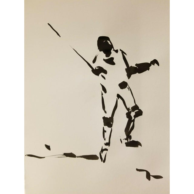 2010s Impressionism Black Ink Wash on Paper Collectible Fencing Figure by Jose Trujillo For Sale - Image 5 of 5