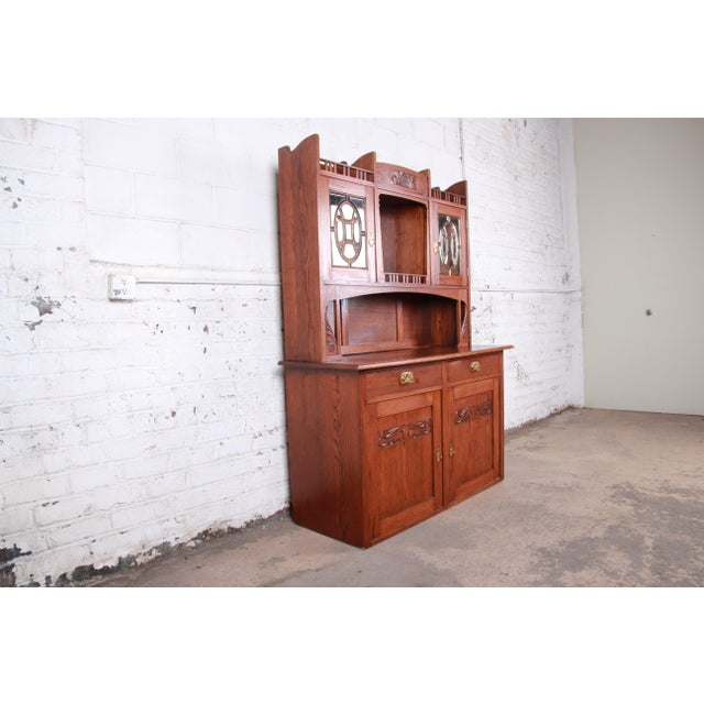 American American Arts & Crafts Carved Oak Sideboard With Hutch For Sale - Image 3 of 13