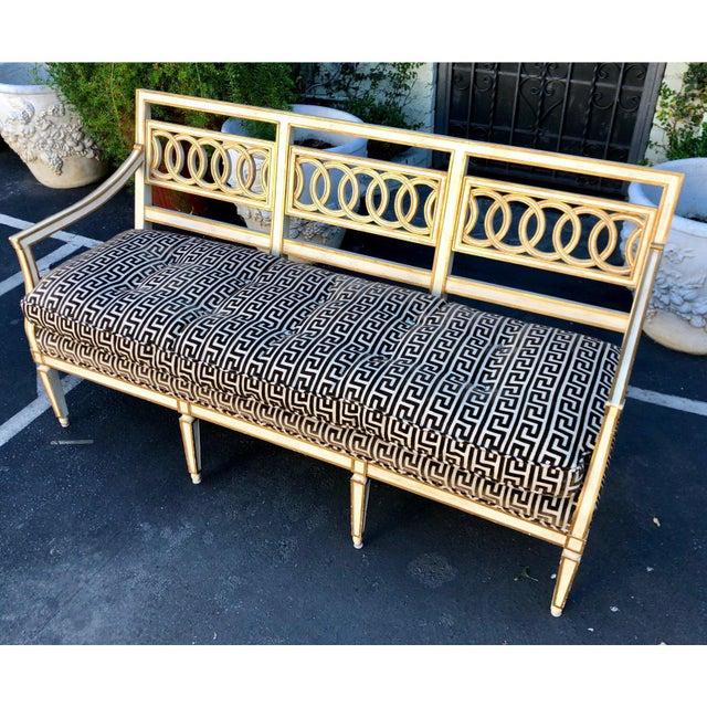 Spectacular Hollywood Regency Style Sofa Settee W Greek Key Cut Velvet For Sale In Los Angeles - Image 6 of 8