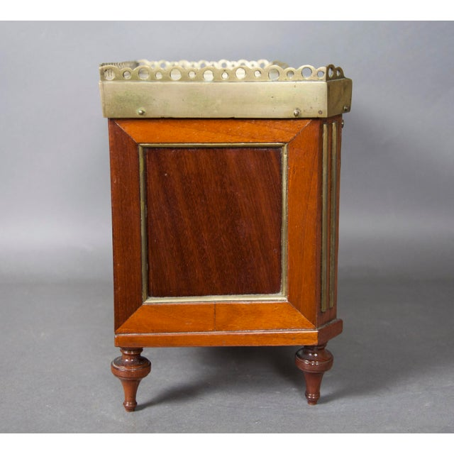 Directoire Style Mahogany and Brass Inlaid Miniature Commode For Sale - Image 4 of 6