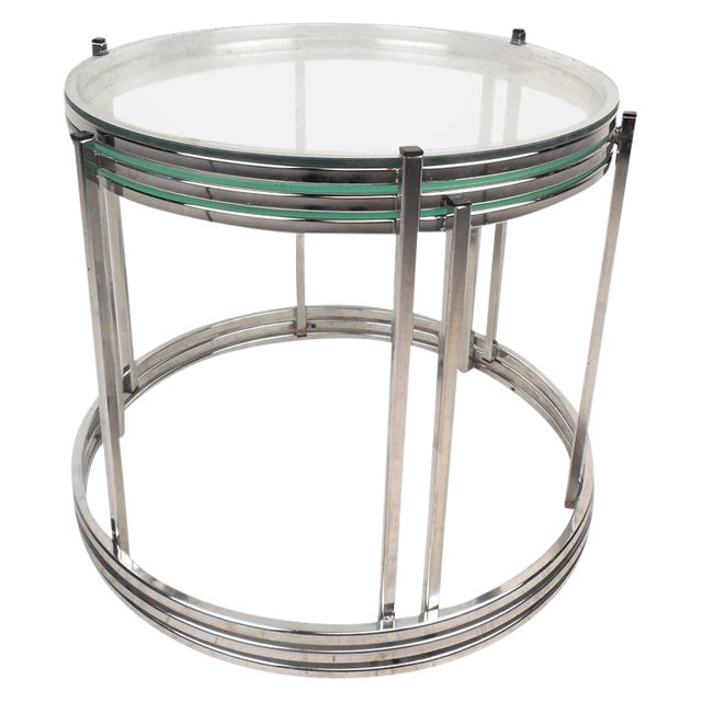 Mid century chrome glass nesting tables set of 3 chairish mid century chrome glass nesting tables set of 3 watchthetrailerfo