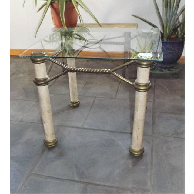 Hollywood Regency Glass Top Coffee Table With Brass Trim For Sale - Image 4 of 11