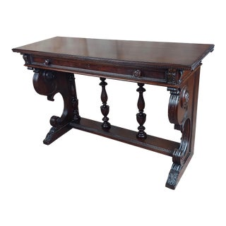 1940s Vintage Spanish Revival Dark Carved Console Table For Sale