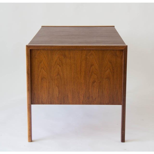 Animal Skin Jens Risom Walnut Desk with Leather Writing Surface For Sale - Image 7 of 11