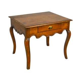 Baker Collectors Choice French Louis XV Style Vintage Walnut 1 Drawer Side Table For Sale