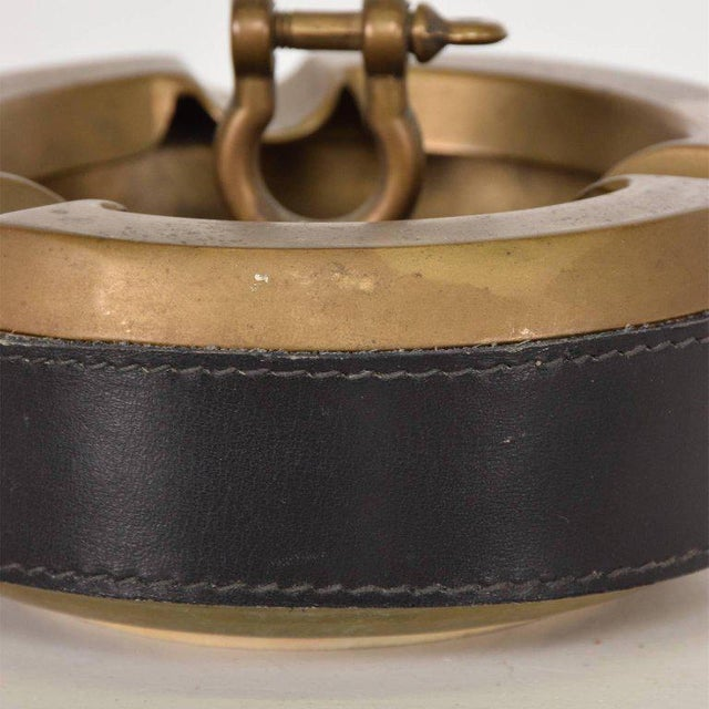 Mid-Century Modern Hermes Style Brass and Leather Ashtray, Italy, 1960s For Sale - Image 3 of 8