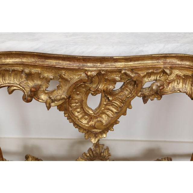 Gold Gilt Console with custom cut Marble Top